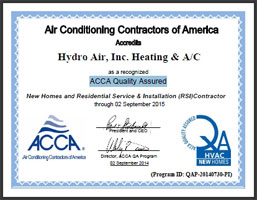 Hydro Air ACCA Quality Assured Certificate